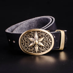 Handmade Genuine Leather Punk Rock Western Country Star of David Mens Cool Men Biker Trucker Leather Belt