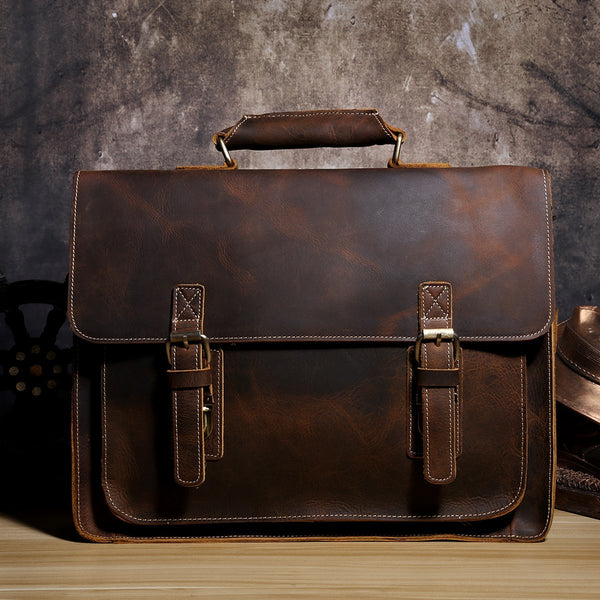 47b49b43aba8 Genuine Leather Mens Cool Messenger Bag Briefcase Chest Bag Bike Bag  Cycling Bag for men