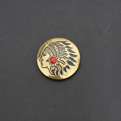 Indian Chief Brass Wallet Concho Stone Conchos Button Conchos Brass Screw Back Decorate Concho Stone Brass Biker Wallet Concho Wallet Conchos