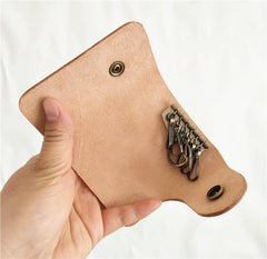 Handmade Mens Beige Leather Biker Key Wallet Cool Small Key Wallets Key Holder