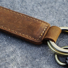 Handmade Biker Trucker Keychain Motorcycle Cool Minimalist Key Ring Key Fob Leather Keychain