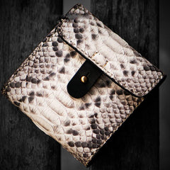 Handmade Leather Boa Skin Mens billfold Wallet Cool Small Wallets for Men