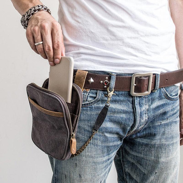 Canvas Mens Waist Bag Hip Pack Belt Bag Fanny Pack Bumbag