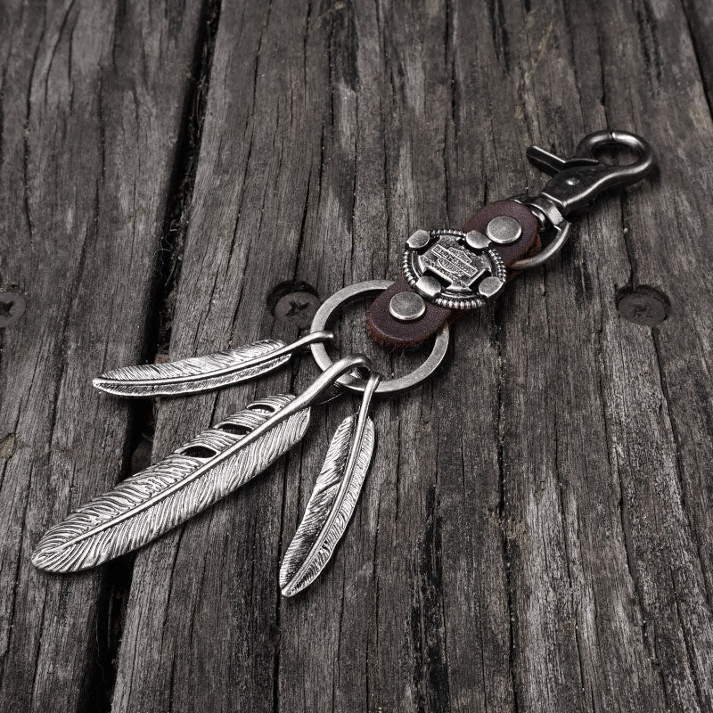 Handmade Biker Trucker Motorcycle Cool Feathers Key Ring Keychain Fob Leather Braided Keychain
