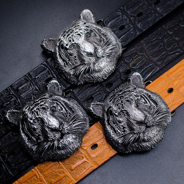 Handmade Genuine Leather Punk Rock Western Country Tiger Mens Cool Men Biker Trucker Leather Belt