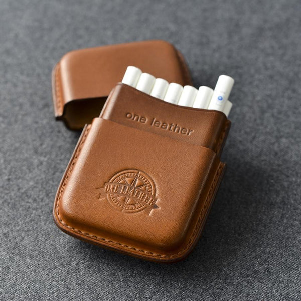 Cool Brown Leather Mens 14pcs Cigarette Holder Case Cool Custom Cigarette Case for Men