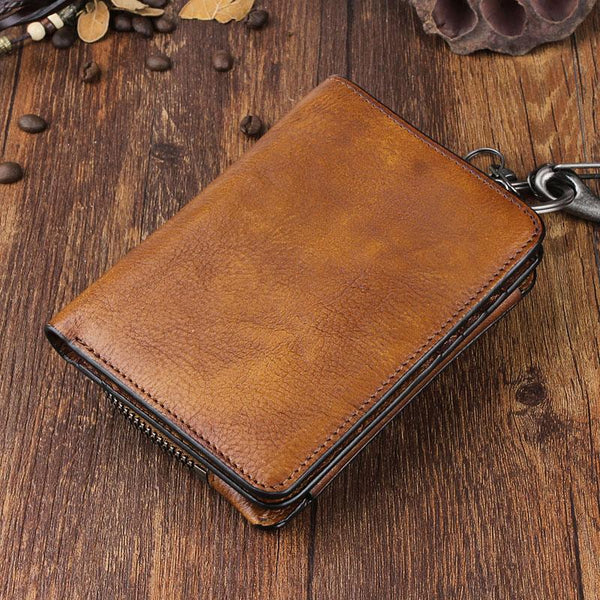 Handmade Leather Mens Chain Biker Wallet Cool Leather Wallet Trifold Short Wallets