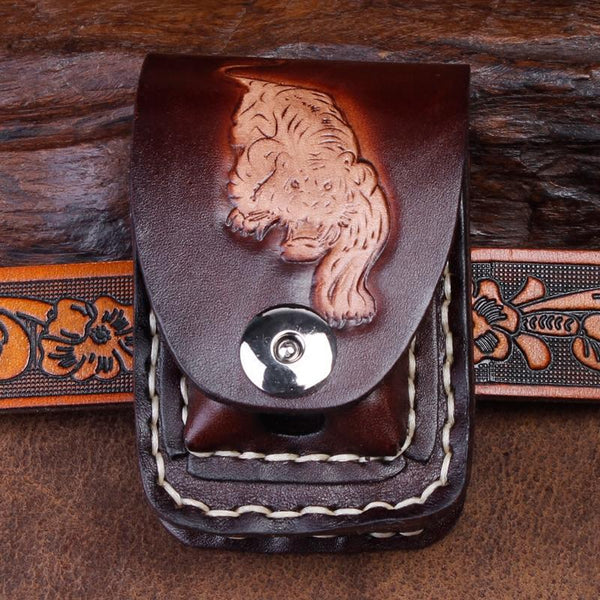 Cool Coffee Leather Mens Engraved Tiger Cigarette Holder Case lighter Holder for Men