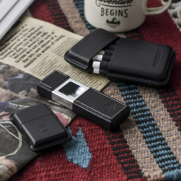 Cool Mens Black Leather Portable Ashtray Travel Ashtray Pocket Ashtray Lighter for Men
