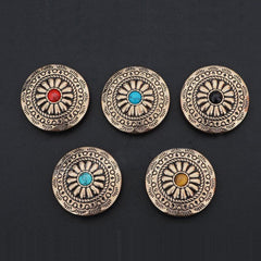 Stone Brass Wallet Conchos Stone Conchos Button Floral Conchos Brass Screw Back Decorate Concho Stone Brass Biker Wallet Concho Wallet Conchos