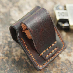 Cool Mens Leather Prajna Zippo Lighter Cases with Loop Zippo lighter Holder with clips
