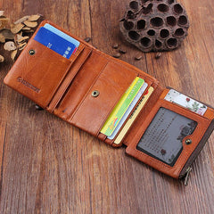 Handmade Mens Cool Short Leather Wallet Men Small Wallets Trifold for Men