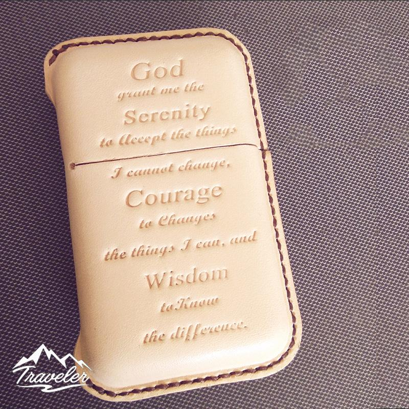 Beige Leather Mens Engraved Words Cigarette Holder Case Vintage Custom Cigarette Case for Men