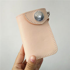 Handmade Mens Leather Small Biker Chain Wallet Cool Short Biker Wallet with Chain