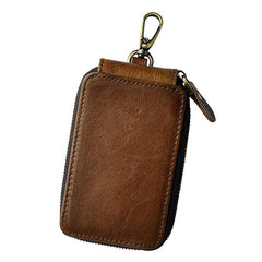 Vintage Brown Leather Mens Small Key Zipper Car Key Wallet Key Holder for Men