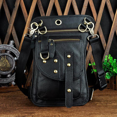 Cool LEATHER MENs Drop Leg Bag FANNY PACK SMALL WAIST BAG HIP PACK BUMBAG FOR MEN