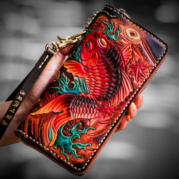Handmade Leather Tooled Carp Mens Biker Chain Wallet Cool Leather Wallet Long Wallets for Men