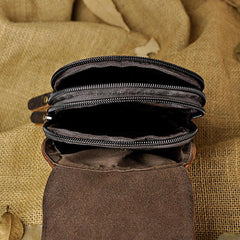 Handmade Leather Mens Small Cigarette Cases Waist Bag Hip Pack Belt Bag Fanny Pack Bumbag for Men