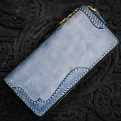 Handmade Leather Mens Biker Chain Wallet Cool Leather Wallet Long Chain Wallets for Men