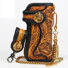 Handmade Mens Cool Tooled Floral Long Leather Chain Wallet Biker Trucker Wallet with Chain