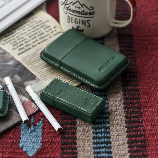 Cool Mens Green Leather Portable Ashtray Travel Ashtray Pocket Ashtray Lighter for Men