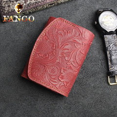 Handmade Leather Floral Mens Trifold Cool Short Wallet Card Holder Small Card Slim Wallets for Men