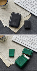 Cool Black Leather Mens 14pcs Cigarette Holder Case Cool Custom Cigarette Case for Men