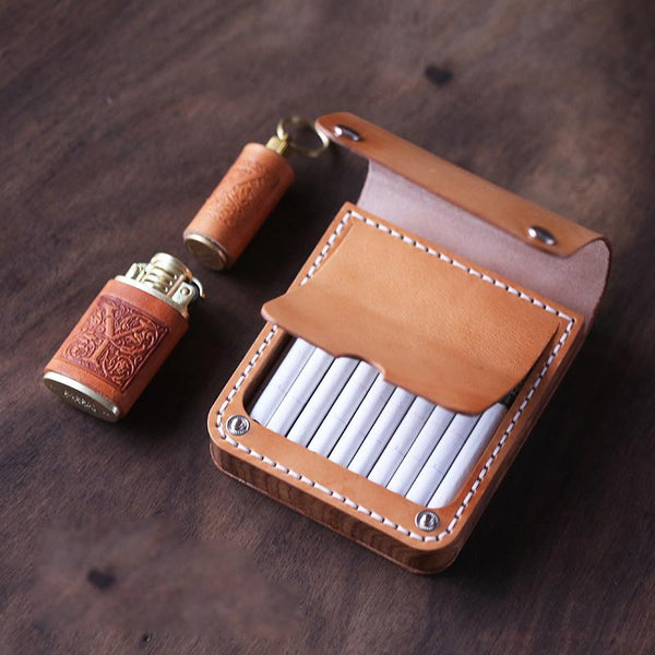 Handmade Wooden Beige Leather Mens 20pcs Cigarette Case Cool Custom Cigarette Holder for Men