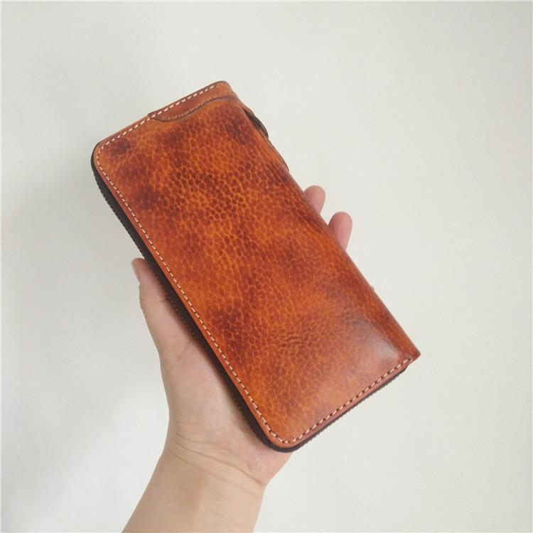[On Sale] Handmade Mens Long Biker Wallet with Chains Cool Zipper Leather Biker Chain Wallets