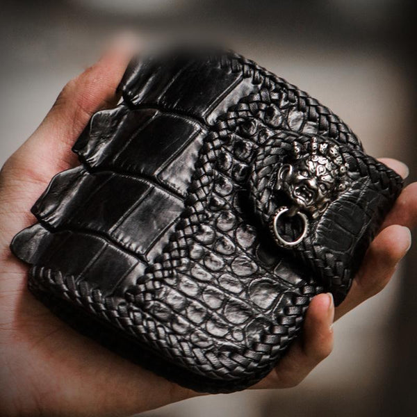 Handmade Leather Small Tooled Mens billfold Wallet Cool Chain Wallet Biker Wallets for Men