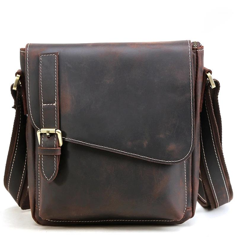 Leather Mens Vintage Brown Vertical Messenger Bag Small Shoulder Bag for Men
