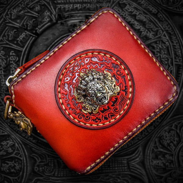 Handmade Leather Small Tooled Mens billfold Wallet Cool Chain Wallets Biker Wallets for Men
