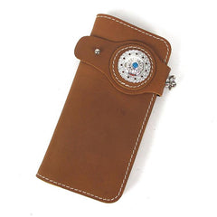 Handmade Mens Long Biker Wallet with Chain Cool Leather Biker Chain Wallet