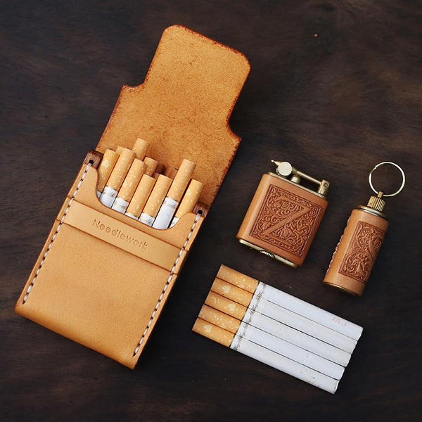 Handmade Wooden Leather Mens Cigarette Case Cool Beige Custom Cigarette Holder for Men