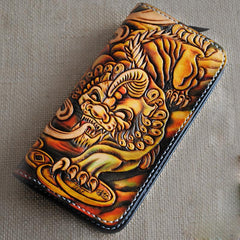 Handmade Tooled Brave Troops Long Leather Mens Cool Long Leather Wallet Zipper Clutch Wallet for Men