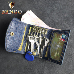 Handmade Leather Floral Mens Trifold Cool billfold Wallet Card Holder Small Card Slim Wallets for Men