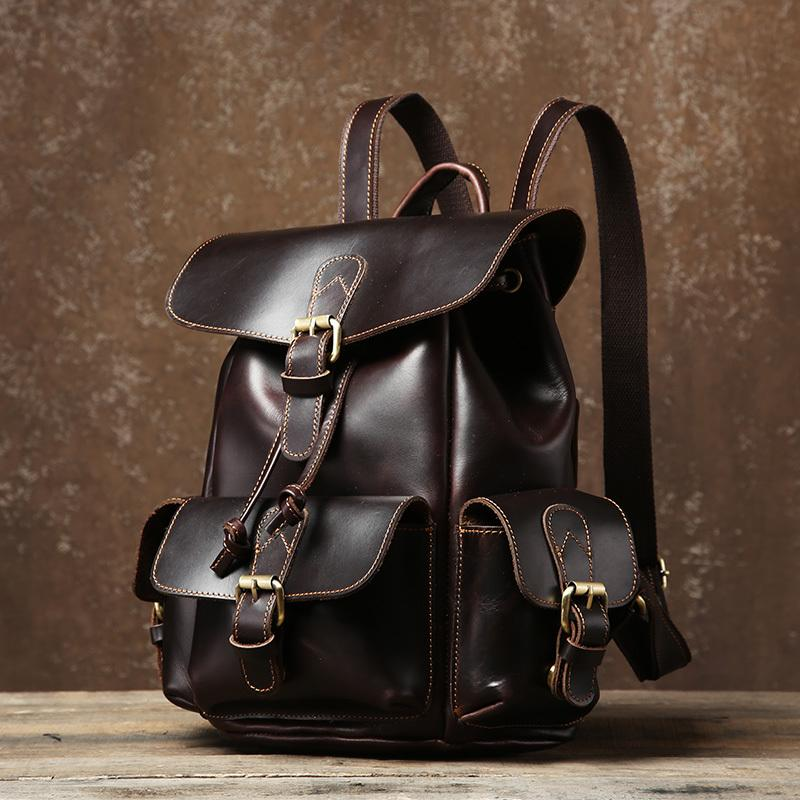 Handmade Genuine Leather Mens Cool Coffee Backpack Sling Bag Large Travel Bag Hiking Bag for Men