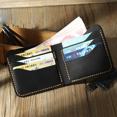 Handmade Slim Coffee Leather Mens Billfold Wallet Personalize Bifold Small Wallets for Men