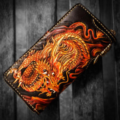 Handmade Leather Acalanatha Tooled Mens Long Biker Wallet Cool Leather Biker Wallet With Chain Wallets for Men
