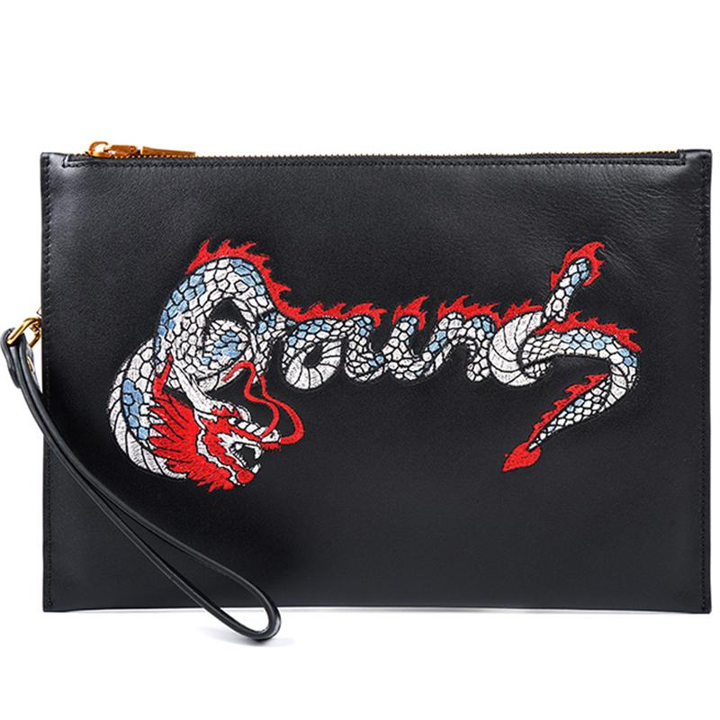 Handmade Leather Mens Chinese Dragon Clutch Cool Slim Wallet Zipper Clutch Wristlet Wallet for Men