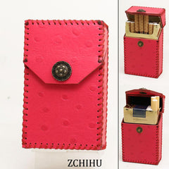 Cool Handmade Leather Womens Pink Cigarette Holder Case for Women