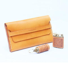 Cool Beige Wooden Slim Leather Mens 20pcs Cigarette Case Custom Beige Cigarette Holder for Men