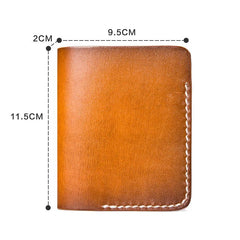 Handmade Mens Cool Short Leather Wallet Men Small Slim Wallets Bifold for Men