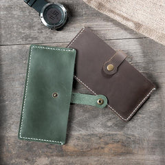 Handmade Leather Mens Clutch Wallet Cool Slim Leather Wallet Long Phone Wallets for Men
