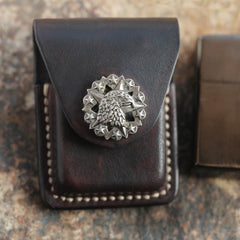 Cool Mens Leather Eagle Zippo Lighter Case with Loop Zippo lighter Holder with clips