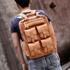 Genuine Leather Vintage Mens Cool Backpack Large Travel Backpack Hiking Backpack For Men