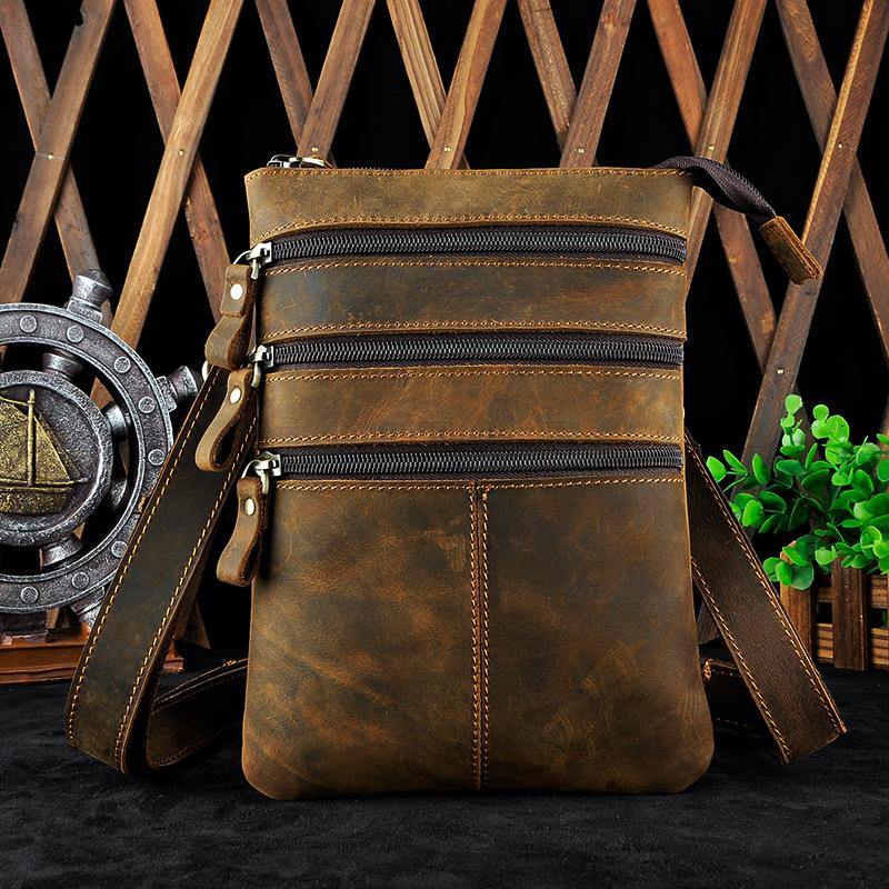 Cool Leather Mens Waist Bag Belt Pouch Side Bag BELT BAG Small Shoulder Bag For Men