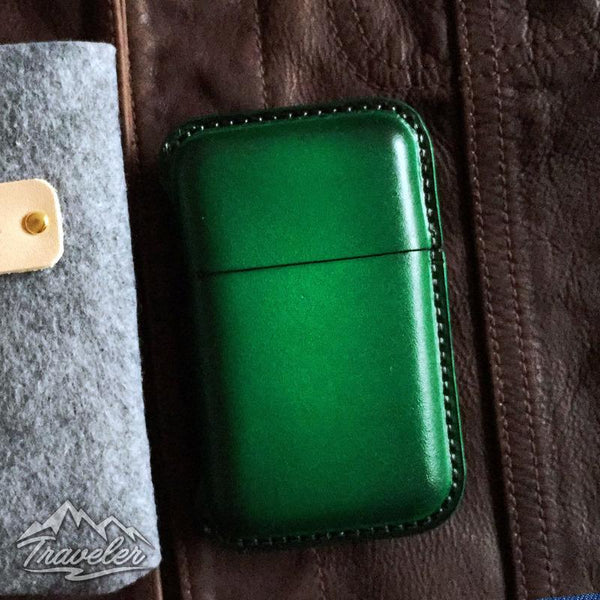 Green Leather Mens Cigarette Holder Case Vintage Custom Cigarette Case for Men