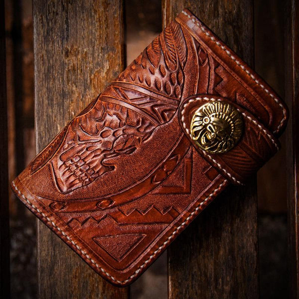 Handmade Leather Skull Indian Chief Tooled Mens Short Wallet Cool Small Chain Wallet Biker Wallet for Men
