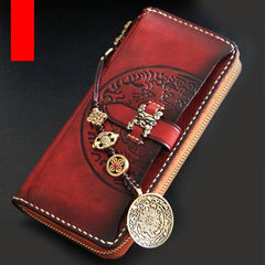 Handmade Mens Tooled Snow Lion Leather Long Chain Wallet Biker Trucker Wallet with Chain